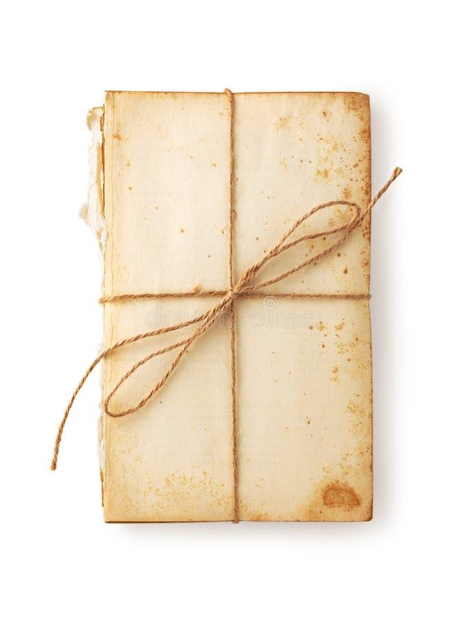 Starej książki papier z konopie sznurkiem wiążącym zdjęcie stock