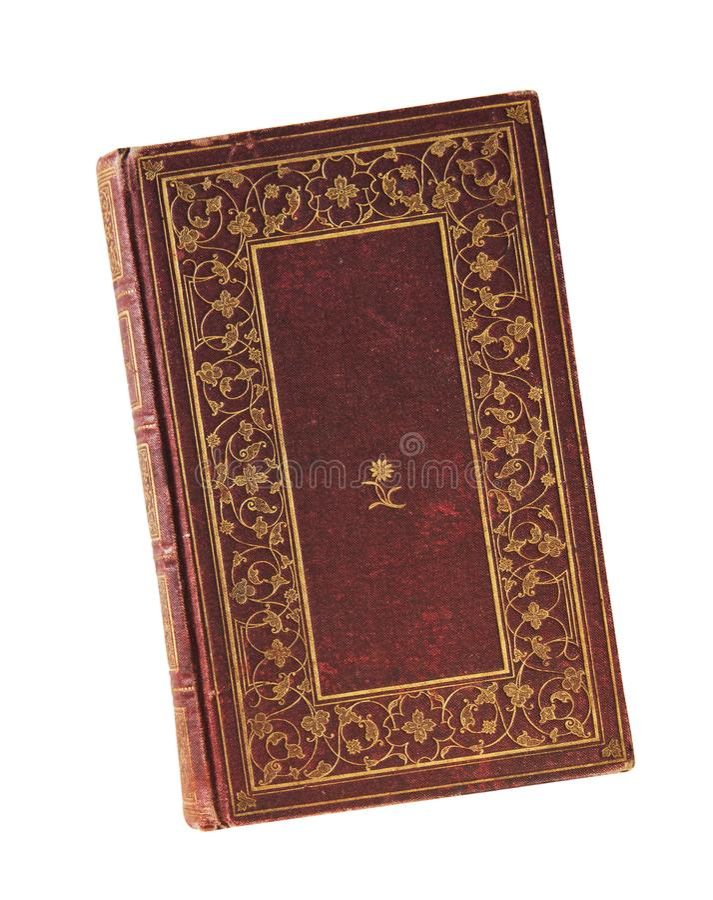 Starej książki rocznika książkowa pokrywa odizolowywająca na białym tle fotografia stock