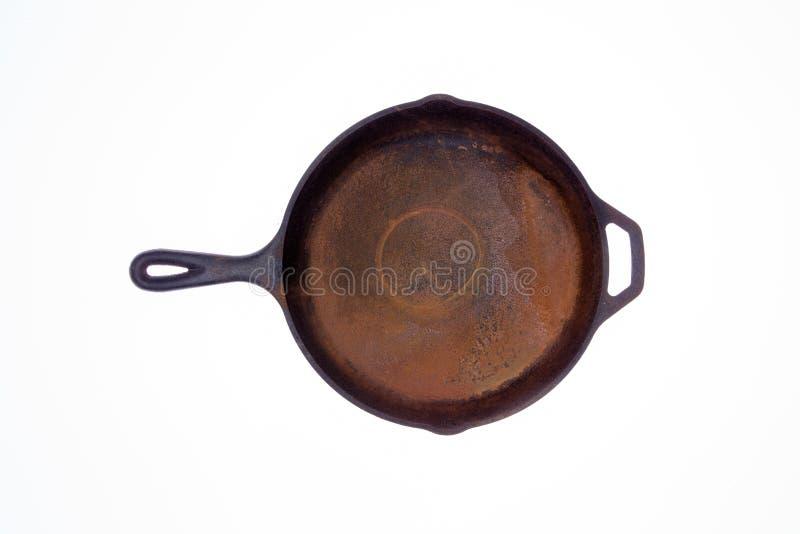 Starej ośniedziałej round obsady żelazna smaży niecka zdjęcie royalty free