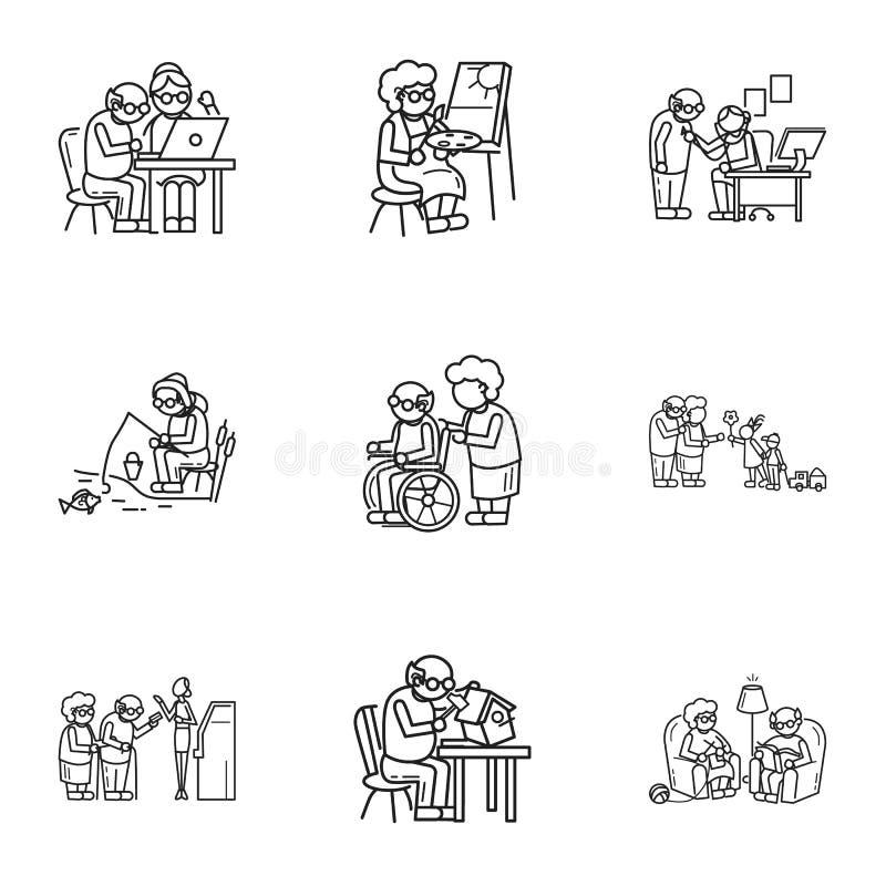 Starej osoby aktywności ikony set, konturu styl ilustracji