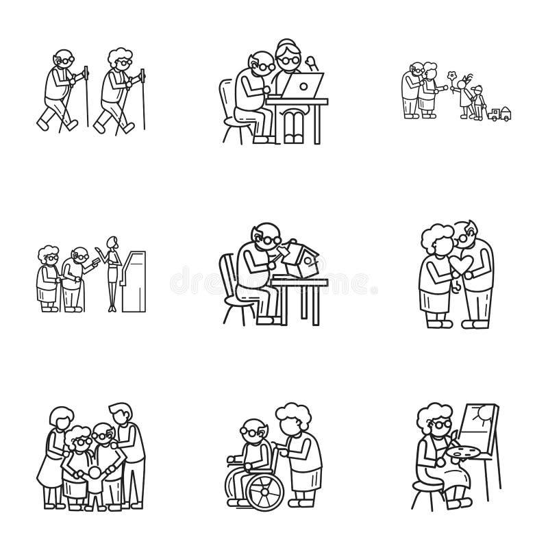 Starej osoby styl życia ikony set, konturu styl ilustracji