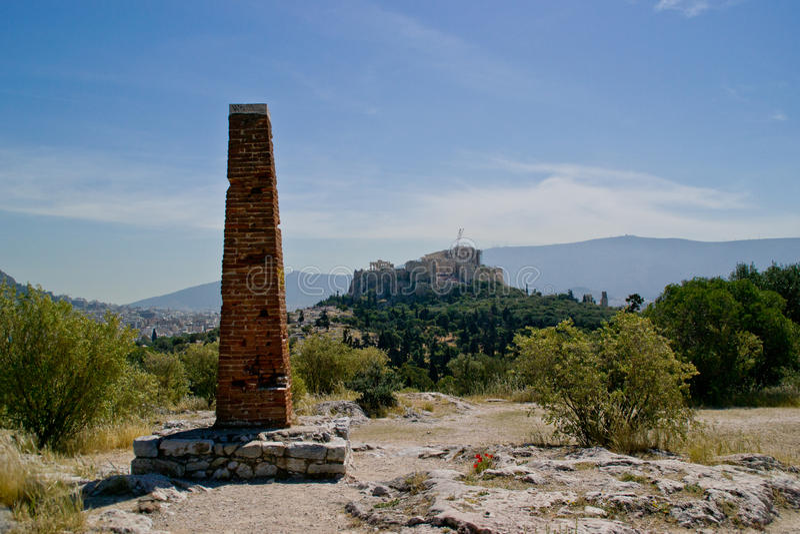Starende Akropolis van Pnyx stock fotografie