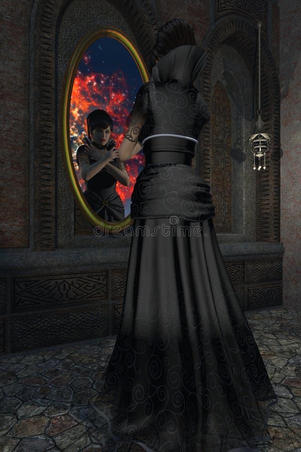 Starende blikken van de sprookje de kwade stiefmoeder in magische spiegel stock fotografie