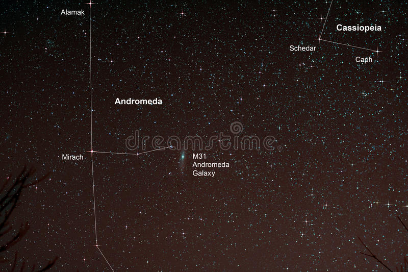 Starfield with Andromeda Galaxy. Astro Photo: Starfield with Andromeda Galaxy stock image