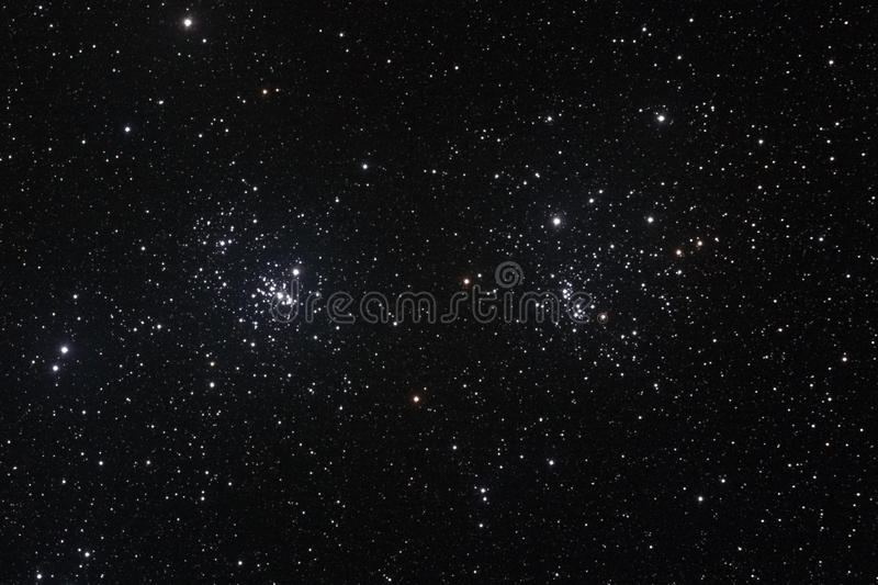 Star field with The Double Cluster stock images