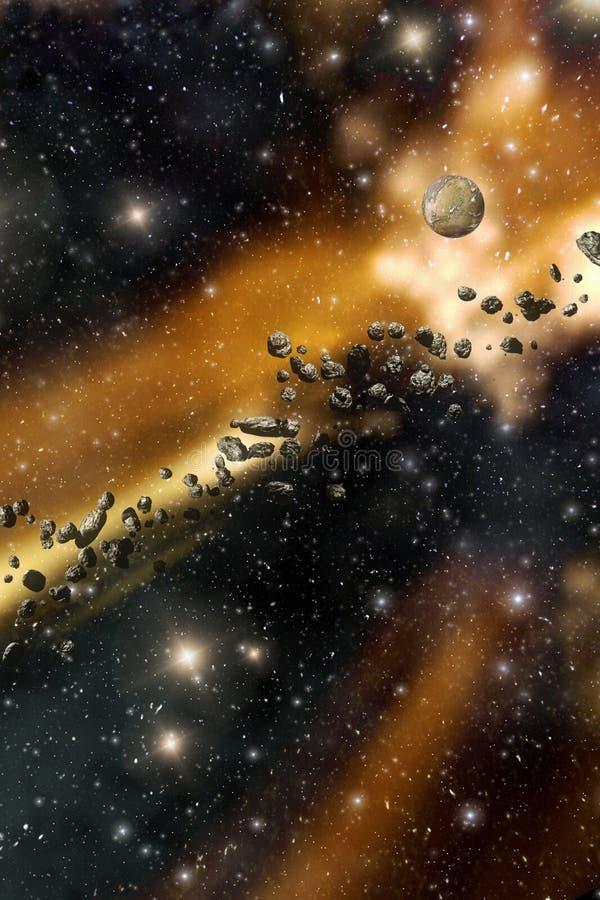 Starfield en asteroïdenachtergrond stock illustratie
