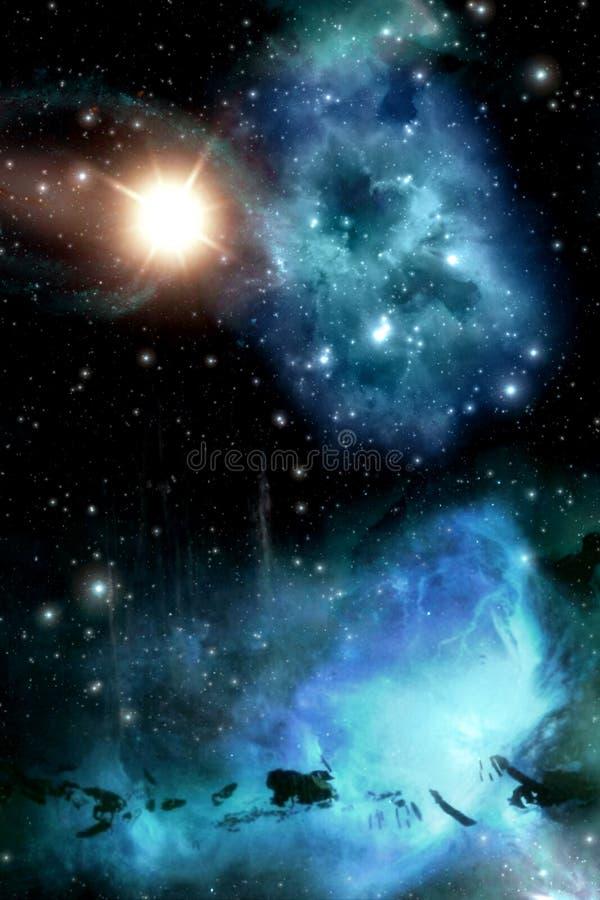 Starfield met nevel en zonachtergrond vector illustratie