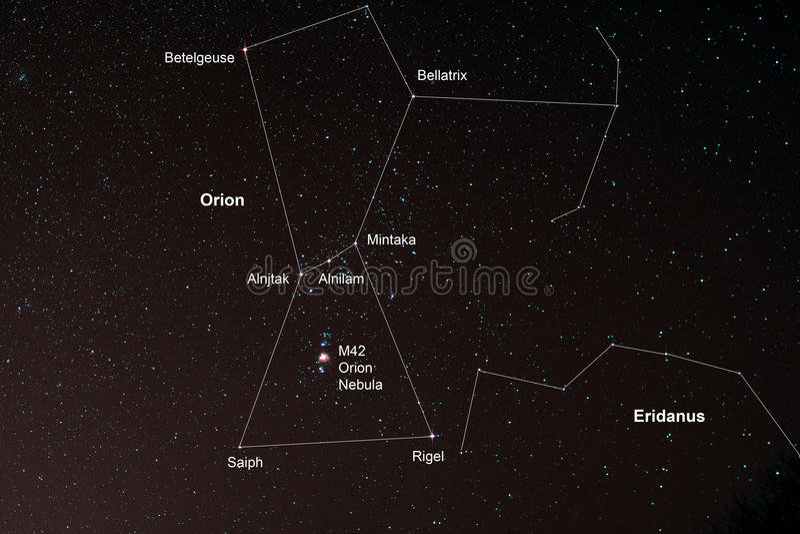 Starfield mit Orion und Orion Nebula stockfotografie