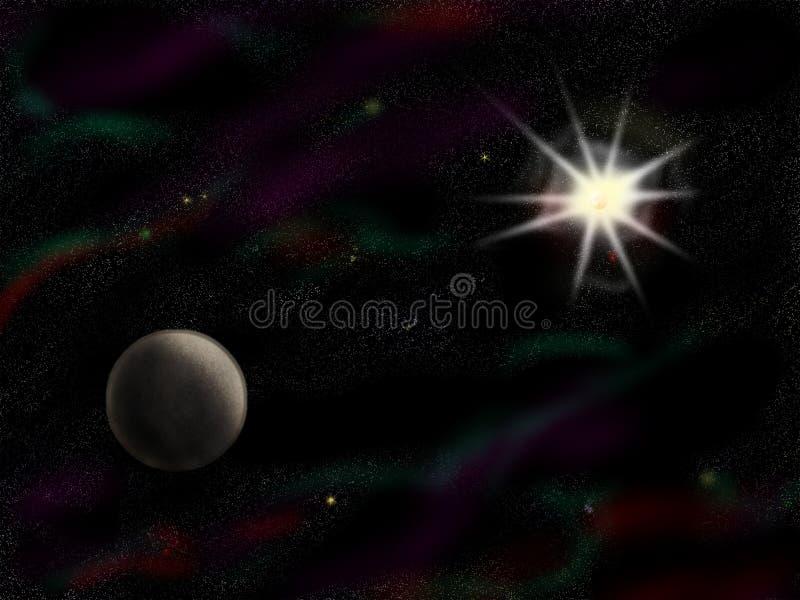 Starfield semplice con il pianeta immagini stock libere da diritti