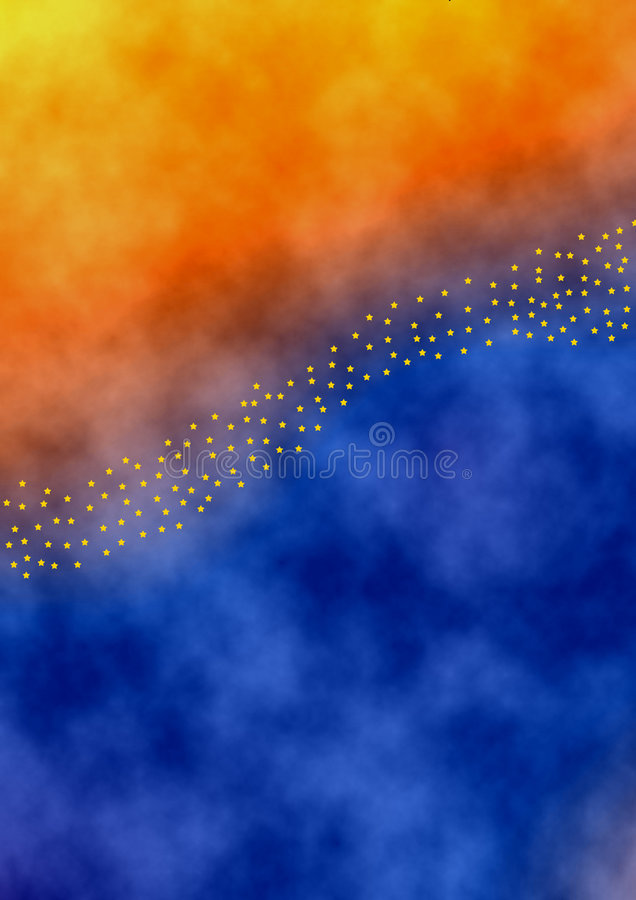 Starfiled. Multicolored background in aquarell style with a diagonal starbanner vector illustration
