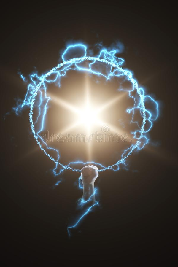 Starfire energy. Strong fire power in hand. royalty free illustration