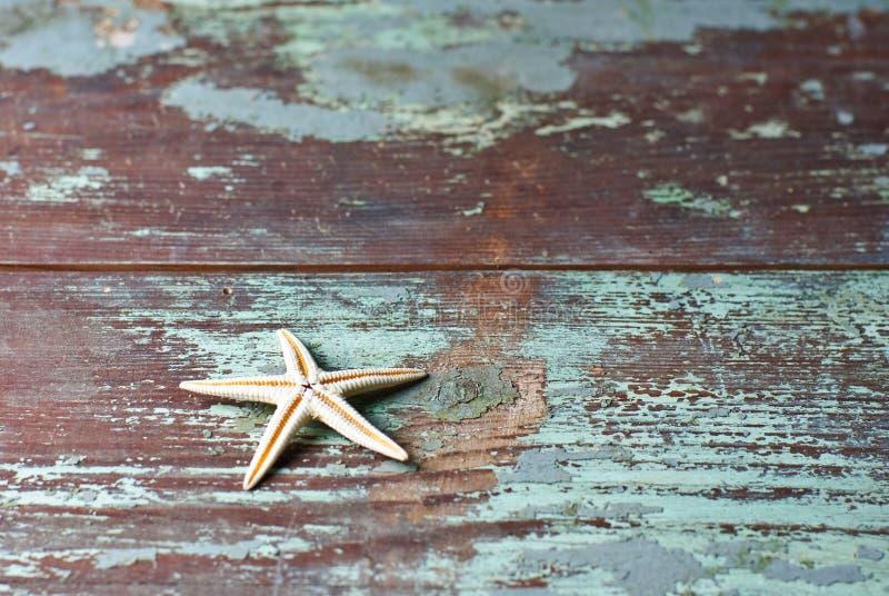 Starfish auf Weinleseholzmuster lizenzfreie stockfotos