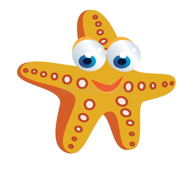 Starfish cartoon. Funny colored starfish cartoon smiling vector illustration