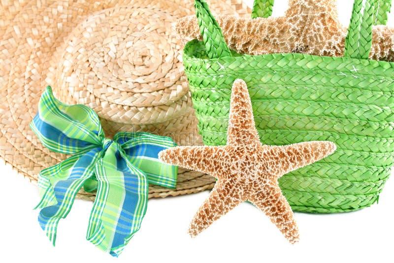 Starfish com acessórios da praia foto de stock