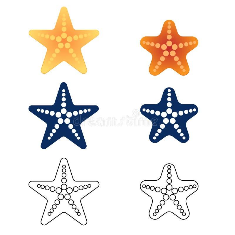 Starfish eingestellt auf einen weißen Hintergrund Vektor lizenzfreie abbildung