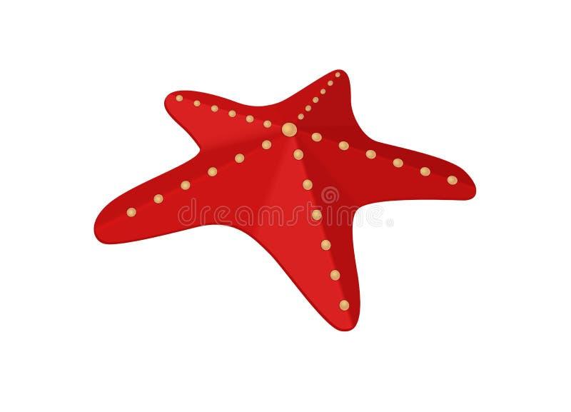 Starfish. Illustration of an isolated red starfish stock illustration