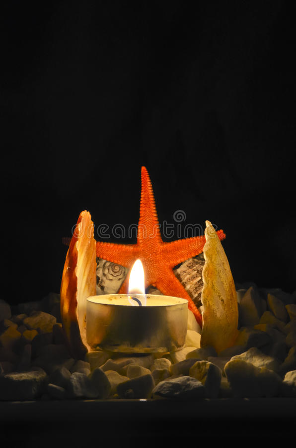 Download Starfish And Lighted Candle Stock Image - Image: 25337701