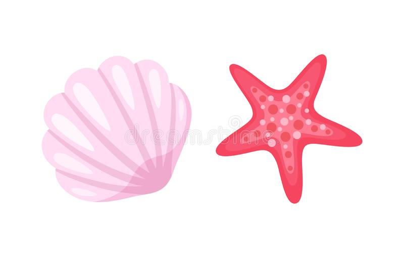 Starfish and Seashell, Conch Closeup Mollusk Set. Aquatic creatures vector, isolated icons of conch and starfish. Pink seastar with five corners, animals living vector illustration
