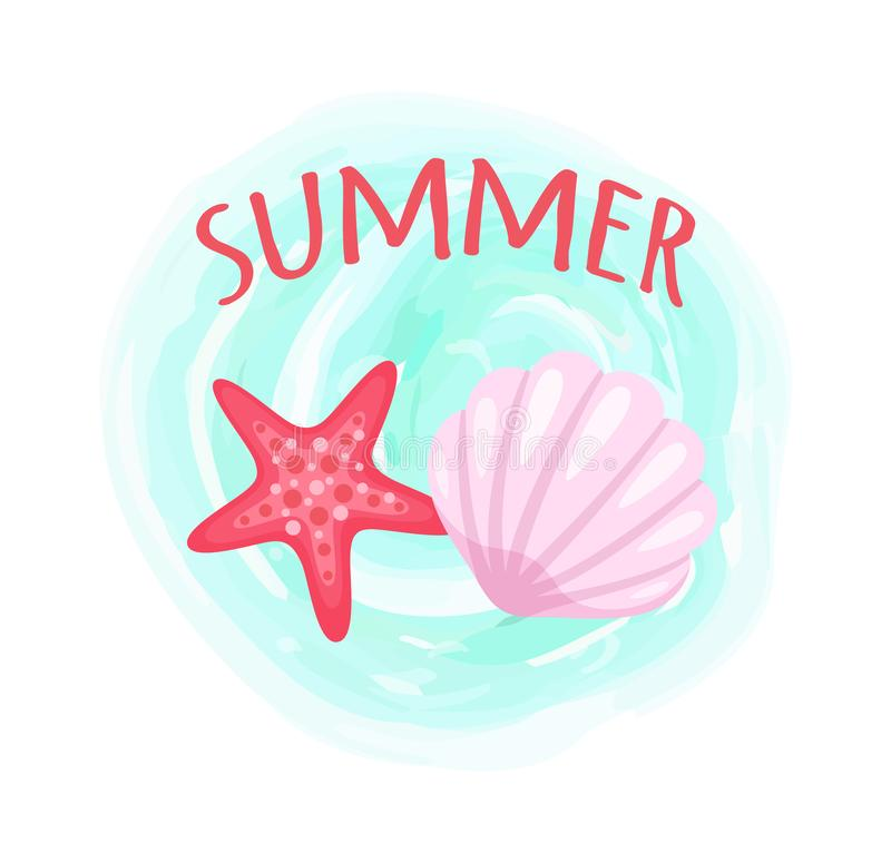 Starfish and Seashell, Conch Closeup Mollusk Set. Summer poster aquatic creatures vector, isolated conch and starfish on blue watercolor splash. Pink seastars stock illustration