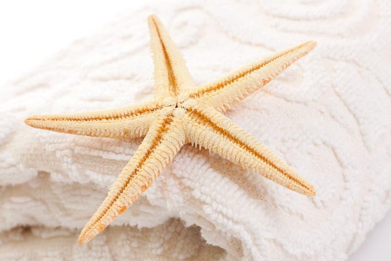 Starfish On Soft White Towel Stock Photo