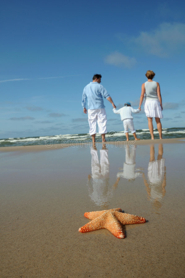Starfish and tranquil family on the beach royalty free stock photo