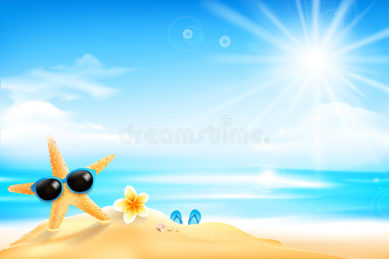 The starfish is wearing sunglasses and flower on the beach over stock illustration