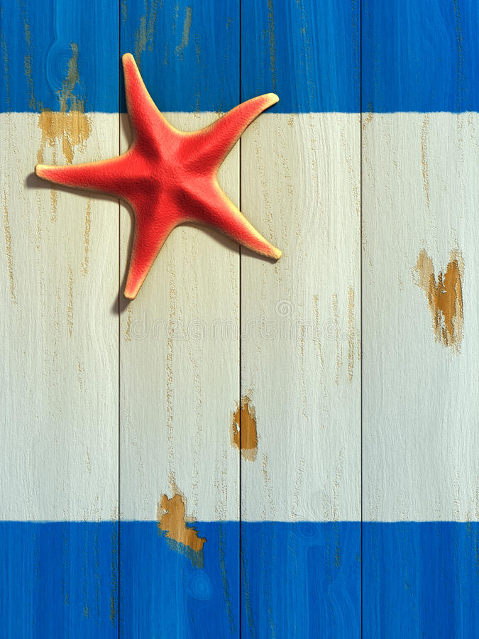 Starfish on wood board stock illustration