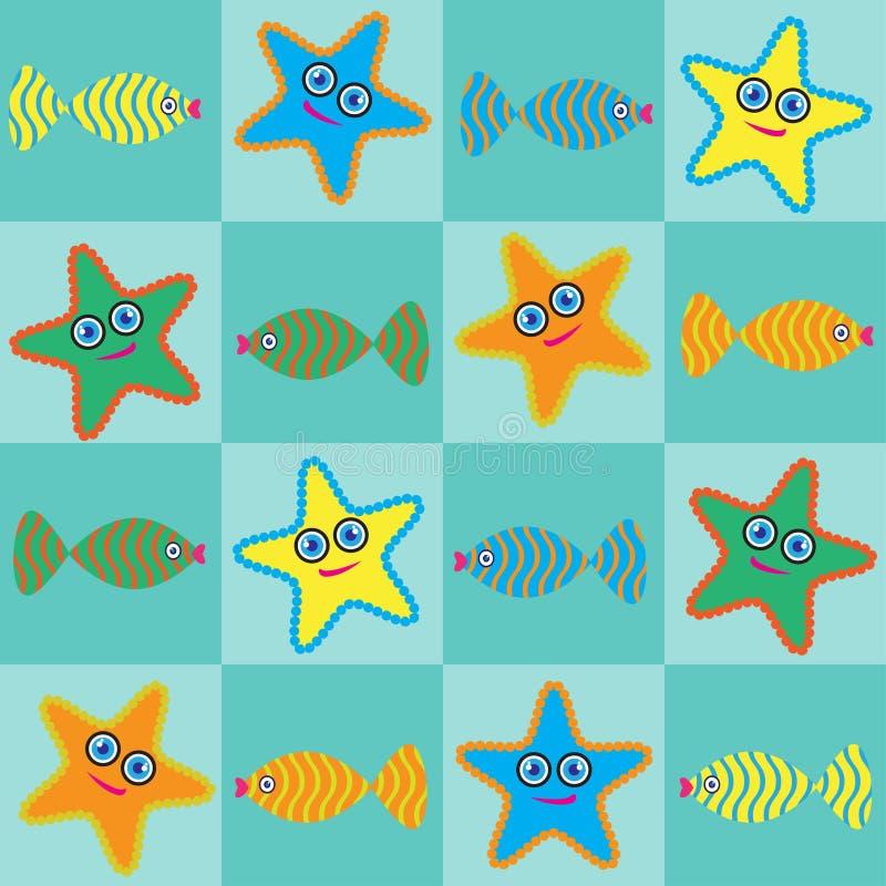 Starfishes e peixes dos desenhos animados foto de stock royalty free