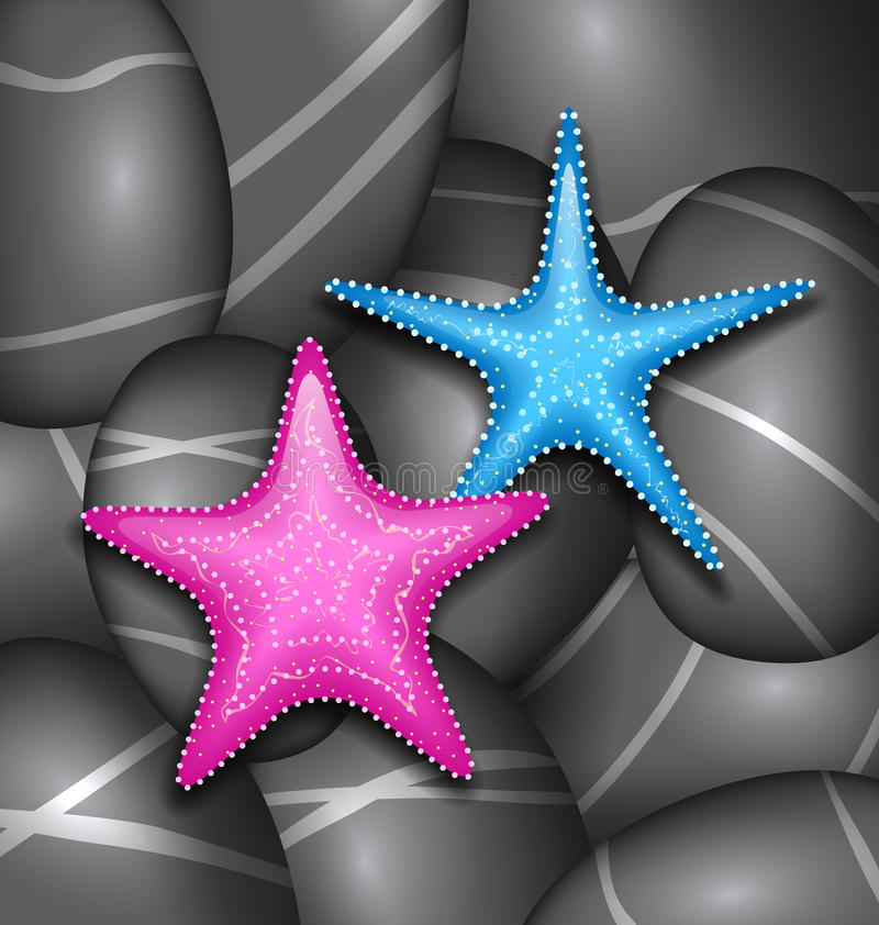 Starfishes among sea pebble stones royalty free illustration