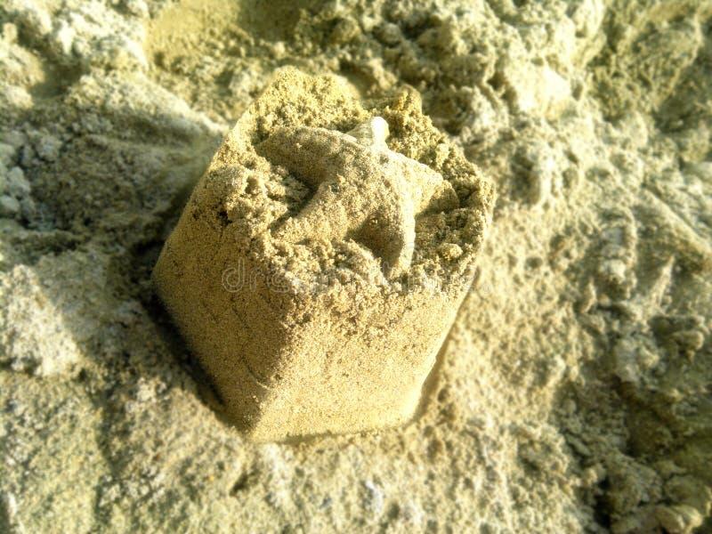 Starfishzahl auf nass Sand im wolkigen Wetter stockbilder