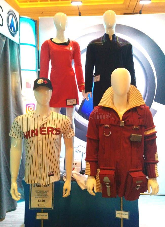 Starfleet mundury od Star Trek na białych mannequins obrazy royalty free