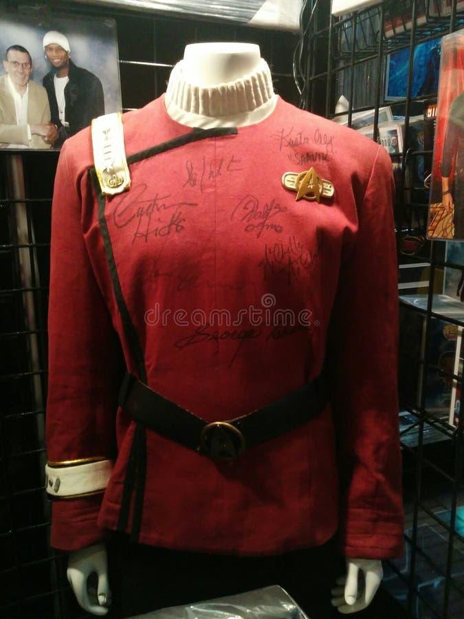 Starfleet uniform from Star Trek movies signed by cast members stock image
