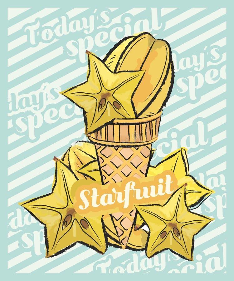 Starfruit在锥体的冰淇淋瓢 r 果子冰淇淋想法,概念 库存例证