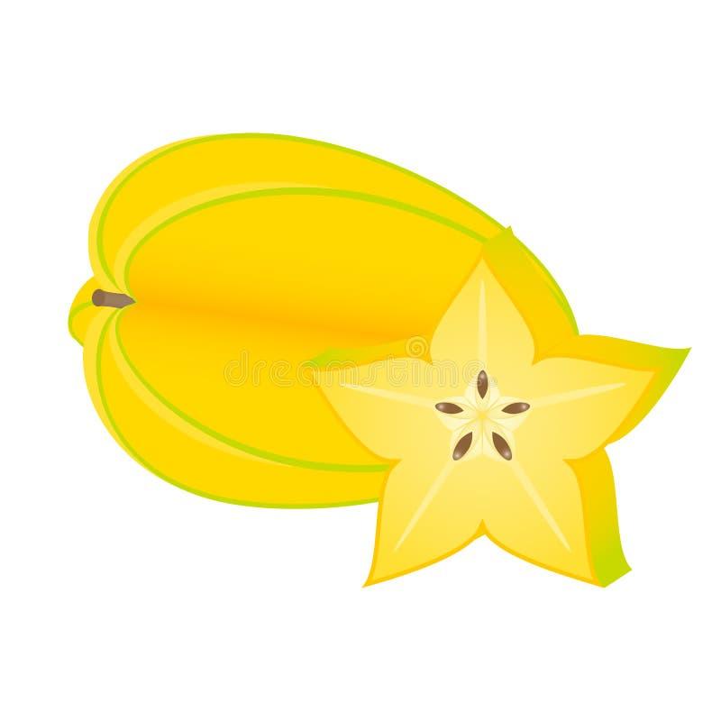 Starfruit die op wit wordt geïsoleerd stock afbeeldingen