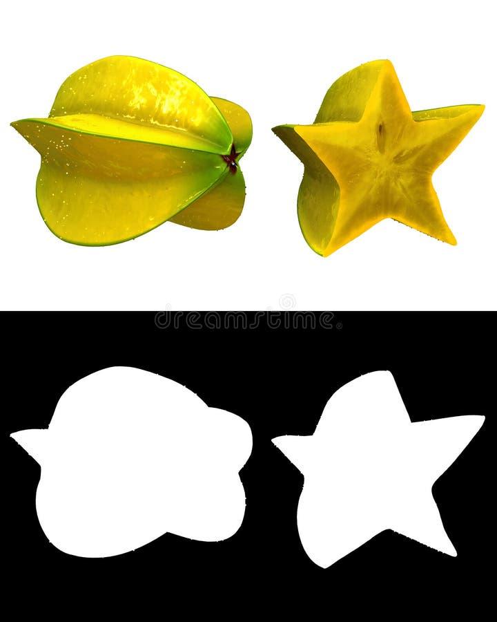 Starfruit fresco con agua y el canal alfa condensados ilustración del vector