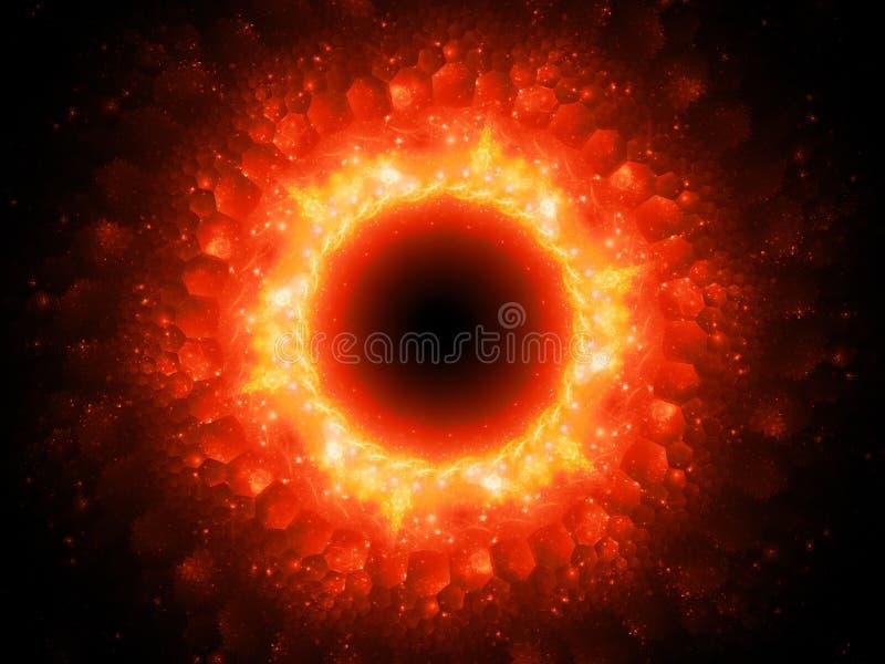 Stargate magique rougeoyant ardemment dans l'espace avec les modèles hexagonaux illustration de vecteur