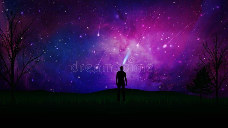 Stargaze, verbinding met het Heelal, mensensilhouet op een gebied royalty-vrije illustratie