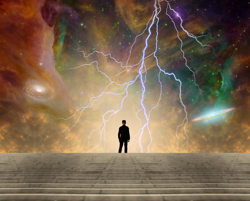 Stargazer. Sci-fi composition. Stargazer. Man in classic suit and bowler hat stands before vivid space with colorful nebulae and galaxies. Human elements were royalty free illustration