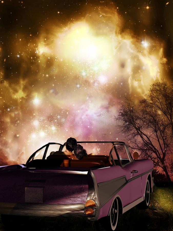 Stargazing from the car vector illustration