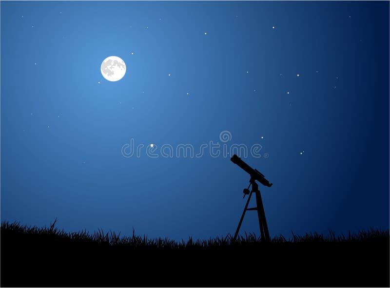 Stargazing com lua ilustração stock