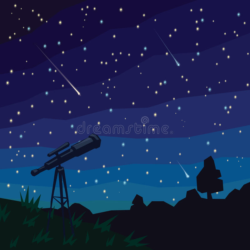 stargazing Estrelas de queda Paisagem natural, céu estrelado da noite e telescópio no primeiro plano ilustração stock
