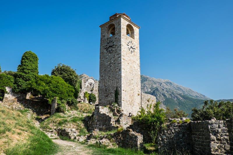 Stari Bar (Old Bar), Bar, Montenegro. Clock Tower in Stari Bar (Old Bar), Bar, Montenegro stock photo