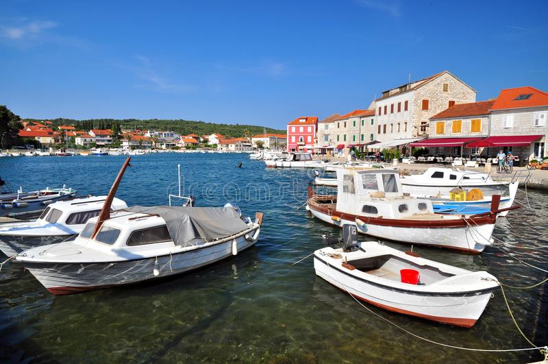 Stari Grad in Brac. Stari Grad town on Hvar island, travel Croatia stock photo