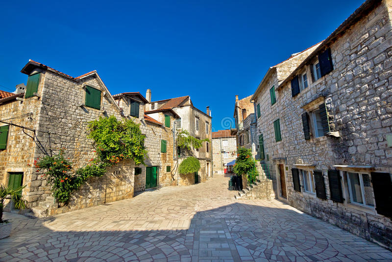 Stari Grad on Hvar i sland old paved street. Dalmatia, Croatia royalty free stock image