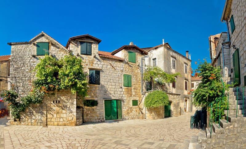 Stari Grad on Hvar island street. Dalmatia, Croatia royalty free stock photo