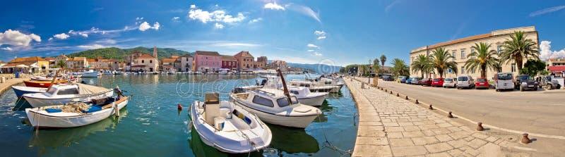 Stari Grad on island of Hvar. Waterfront panoramic view, Dalmatia, Croatia stock photo