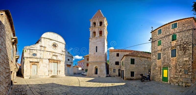 Stari Grad old stone square. Stari Grad, island of Hvar old stone square panoramic view, Dalmatia, Croatia stock images