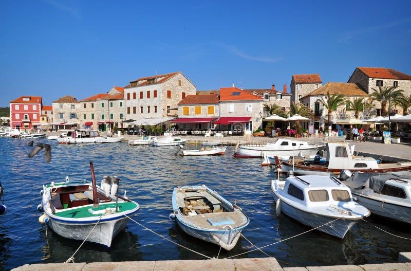 Stari Grad. Port of Stari Grad, adriatic town in Hvar island, Croatia royalty free stock photo