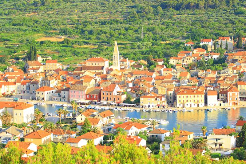 Stari Grad town on Island Hvar, Croatia. Panorama of Stari Grad town, travel destination on Island Hvar, Croatia royalty free stock images