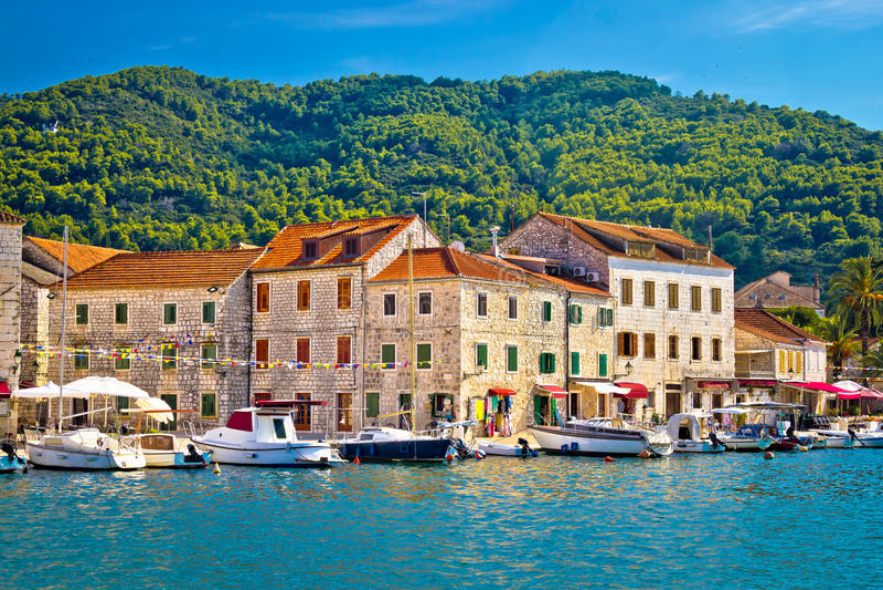 Stari Grad waterfront view un Hvar. Stari Grad waterfront view, island of Hvar, Croatia stock photo